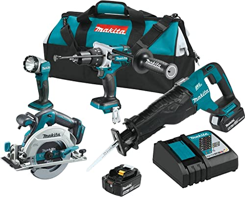 Makita XT448T 5.0 Ah 18V LXT Lithium-Ion Brushless Cordless Combo Kit 4 Piece
