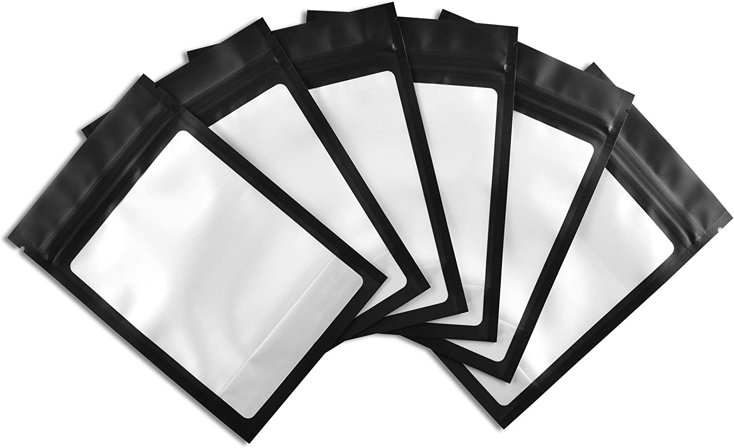 COLSEN 4 x 6 Inches 100 Pack Smell Proof Mylar Resealable Foil Pouch Bags - Food Safe Airtight Ziplock Matte Black with Clear Window (4X6 Inches (100 Pack))