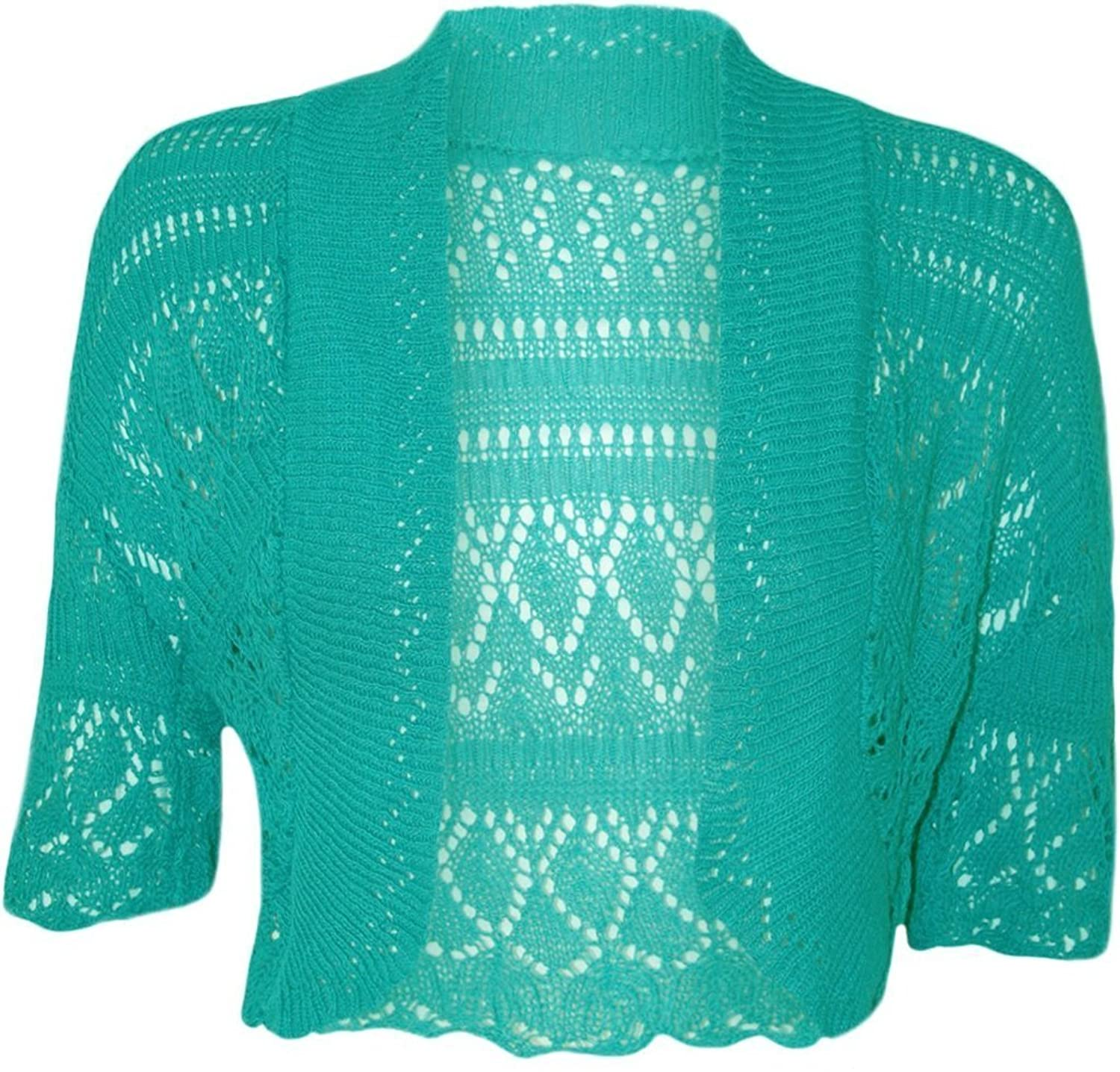 Women Ladies Crochet Knitted Shrug Cardigan Bolero Sweater at ...