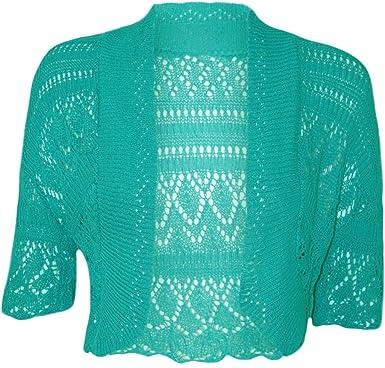 Women Ladies Crochet Knitted Shrug Cardigan Bolero Sweater at ...