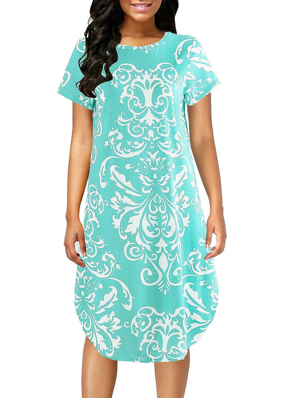 6cd5c931a9f42 Crewneck, Short Sleeve, Pullover, Side Split, Irregular Hem, Floral Printed  Pattern, Knees Length