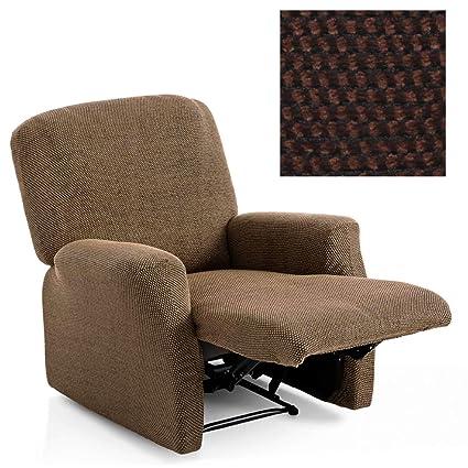 Funda de Sillón Relax Completo Bielástica Modelo Sacramento, Color Marrón-3, Medida 60-85cm de Respaldo