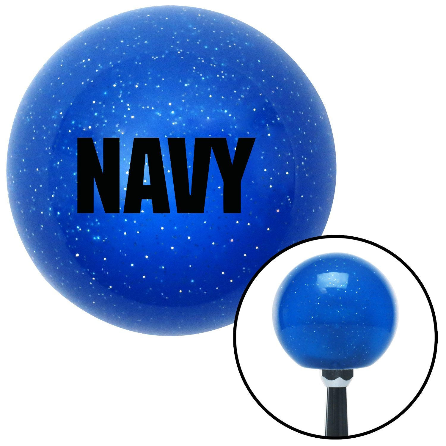 American Shifter 25841 Blue Metal Flake Shift Knob Black Navy