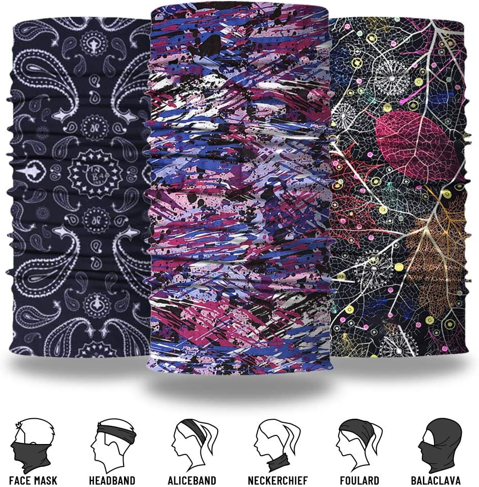Magic Scarf Headwear Festivals 6 Pack TALONITE Neck Gaiter Face Cover Mask Outdoor Dust Wind Protection Sun Headband for Men Women -Seamless Bandana for Rave