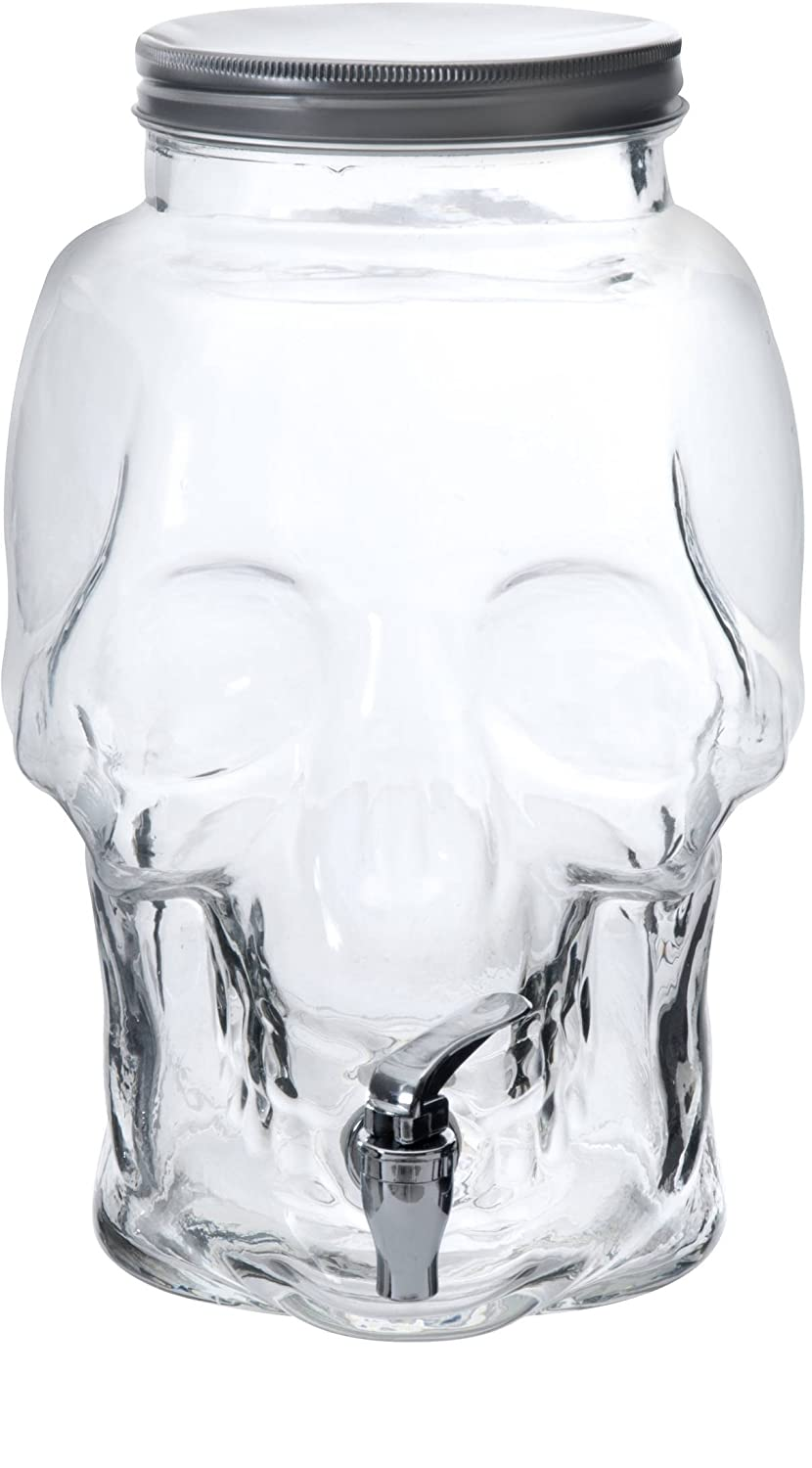 Circleware Skull Mason Jar Glass Drink Beverage Dispenser with Metal Lid, Huge 2.1 Gallon-8 Liters, Glassware for Water, Juice, Beer, Wine, Liquor, Kombucha Iced Tea Punch & Cold Drinks 07698