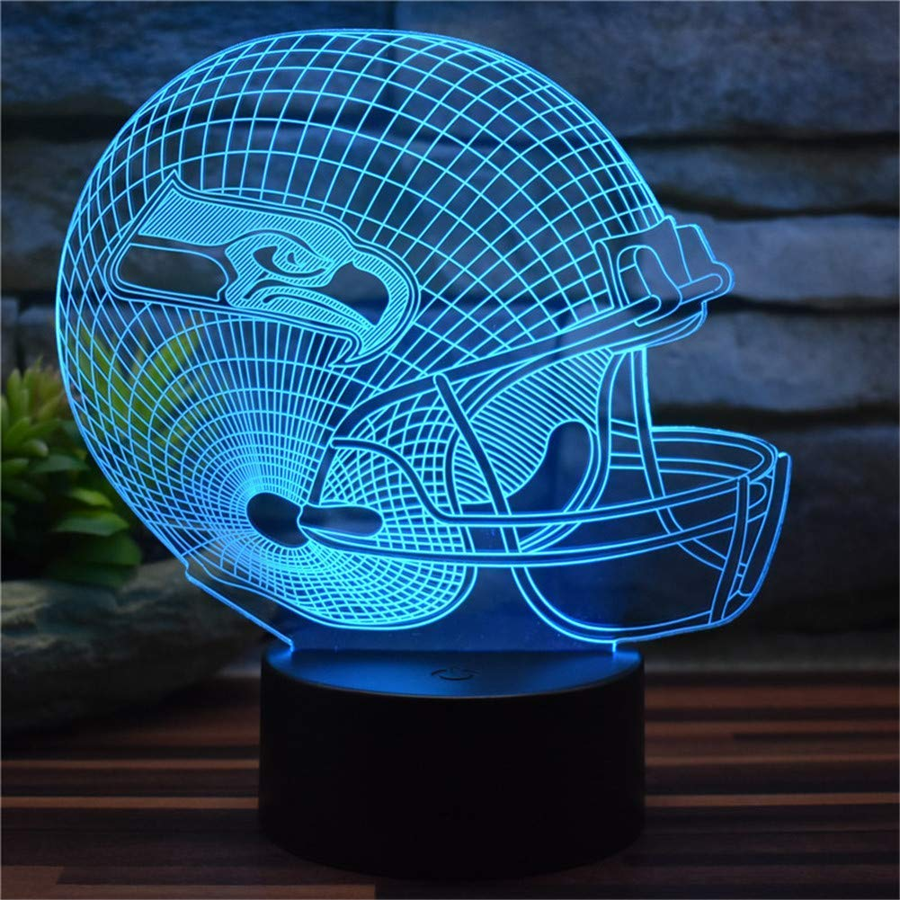 3D dekoratives Nachtlicht Kreative Seattle Seahawks American Football Cap 3D Illusion Nachtlicht USB Fernbedienung 16 Farbwechsel LED Schlafzimmer Schreibtisch Lichter dekorative Lichter Zimmer Home D