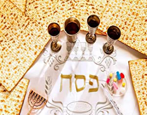 MQPPE Happy Passover 5D DIY Diamond Painting Kits, Unleavened Bread - Matzah and Silver Cups of Red Wine Full Drill Painting Arts Set Craft Canvas for Home Wall Decor Adults Kids, 12