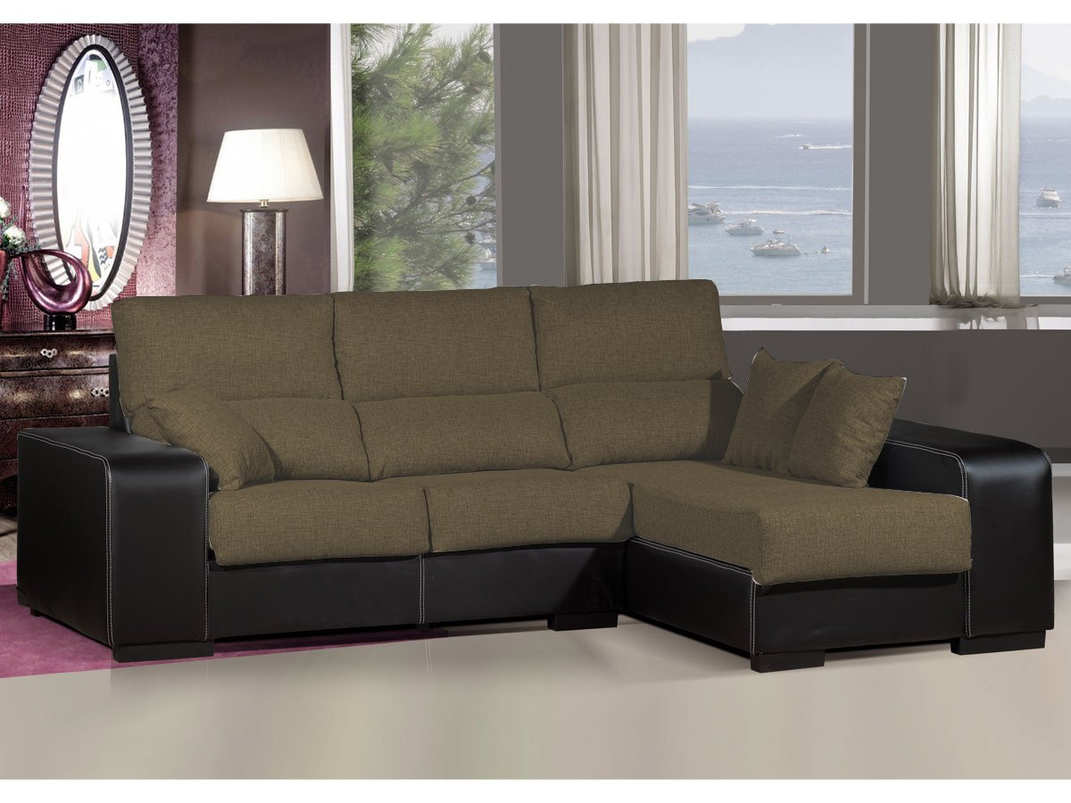 Sofa chaiselongue ,medida 275 Tapizado similpiel y tela (Marrón y Negro)