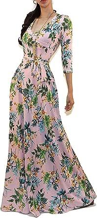 Vivicastle Women's Printed V-Neck 3/4 Sleeve Faux Wrap Waist Tie Long Maxi Dress