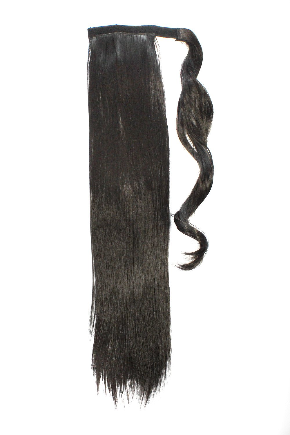 MapofBeauty Long Straight Hair Extensions Warp with Ponytail ( Jet Black)