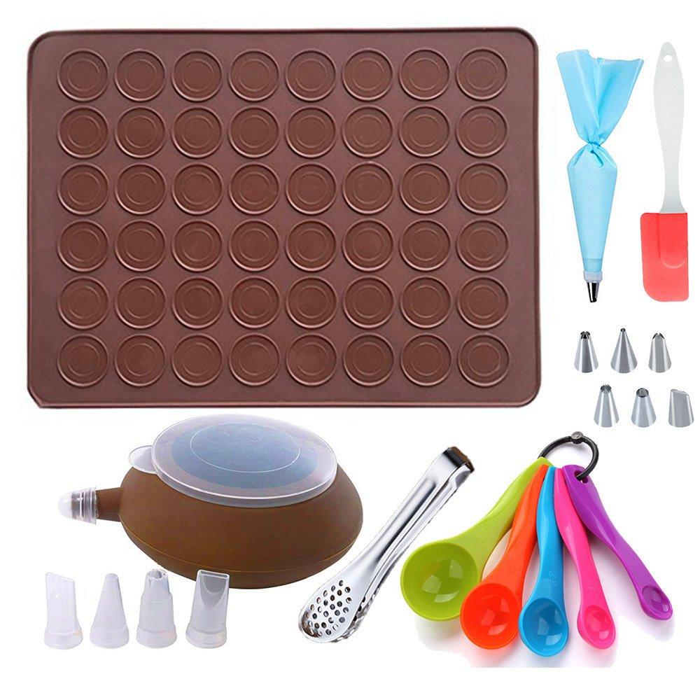 Garcent Macaron Baking Mold, Non-Stick Silicone Pastry Baking Mat Set, 48 Capacity Food Tongs, Measuring Spoon, Silicone Spatula, Cake Decorating Supplies