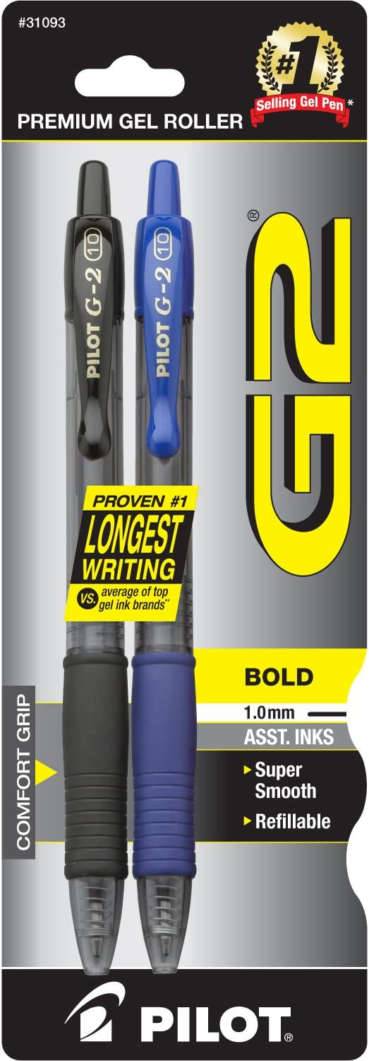 Bold Point 2 Pack 12 Count PILOT G2 Premium Refillable /& Retractable Rolling Ball Gel Pens Black Ink