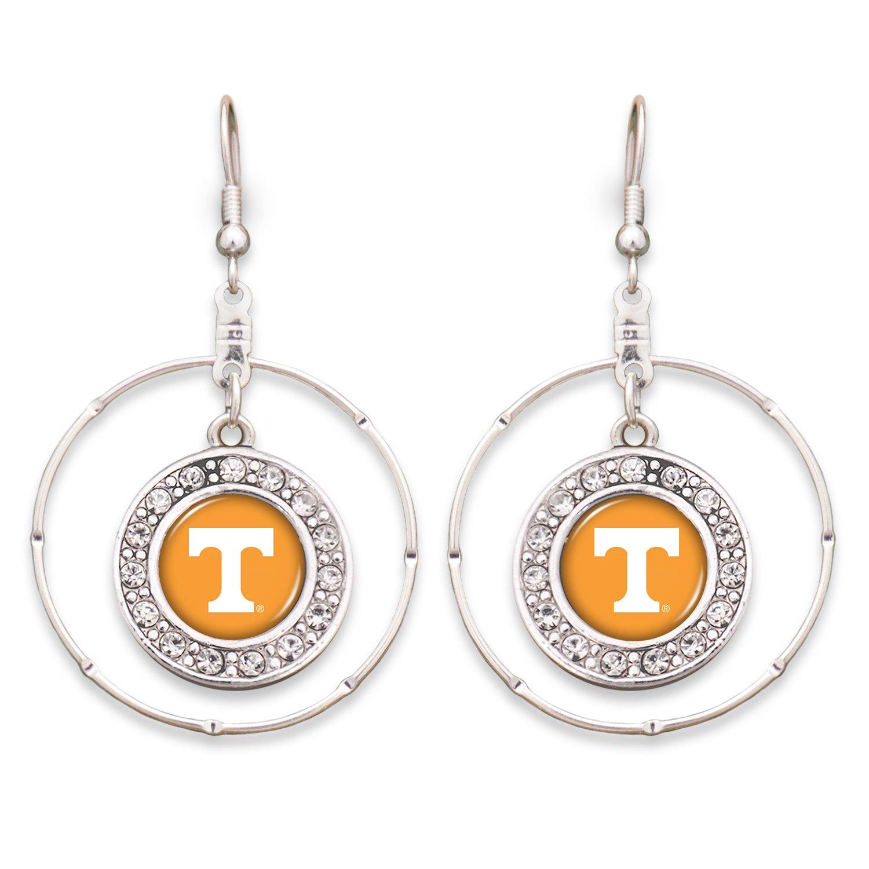 FTH Tennessee Volunteers 2 Silver Tone Wire Hoop Earrings