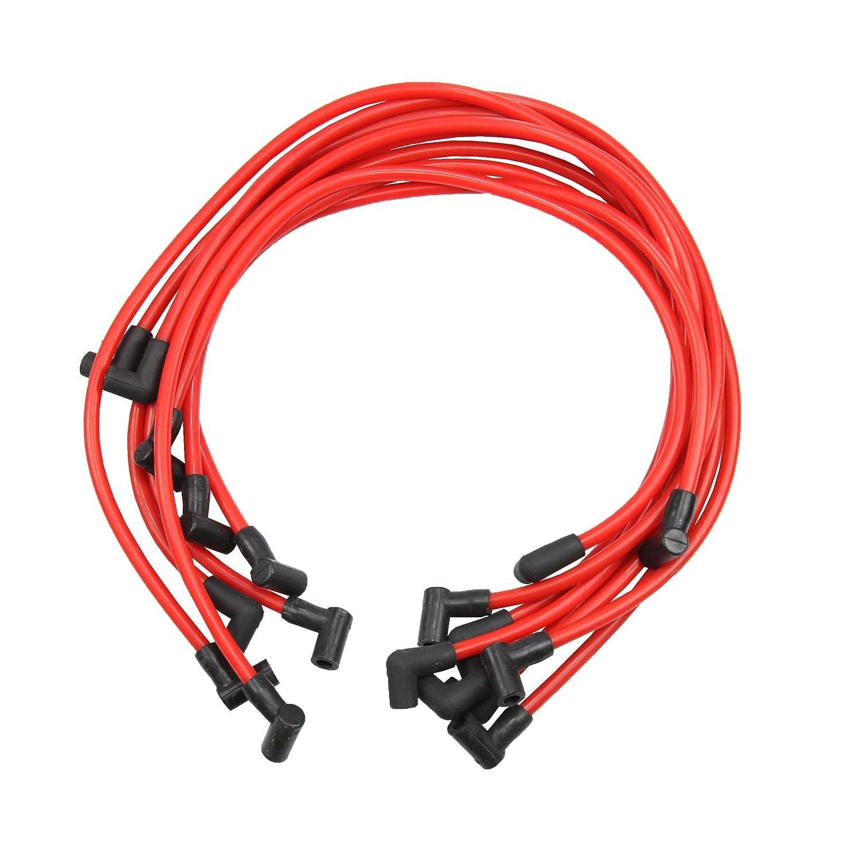 OSIAS - Juego de 9 cables de bujía de alto rendimiento de 10,5 mm, hei SBC BBC 350 383 454, color rojo: Amazon.es: Coche y moto