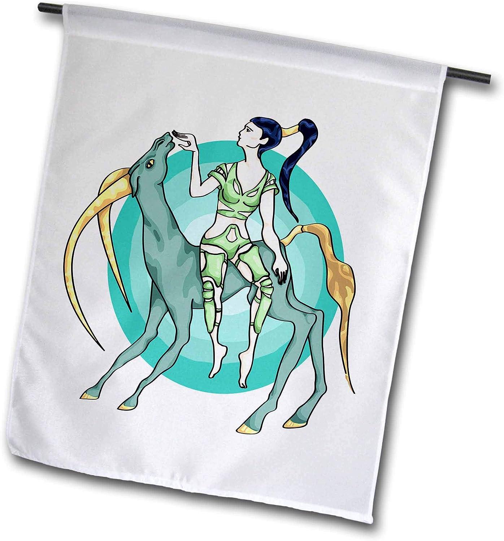 3dRose Warya - People. - Girl On Alien Horse - 12 x 18 inch Garden Flag (fl_299929_1)