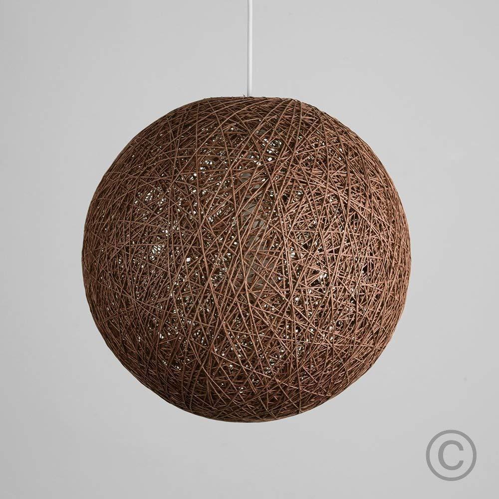 Modern Small Cream Lattice Wicker Rattan Globe Ball Style Ceiling Pendant Light Lampshade MiniSun