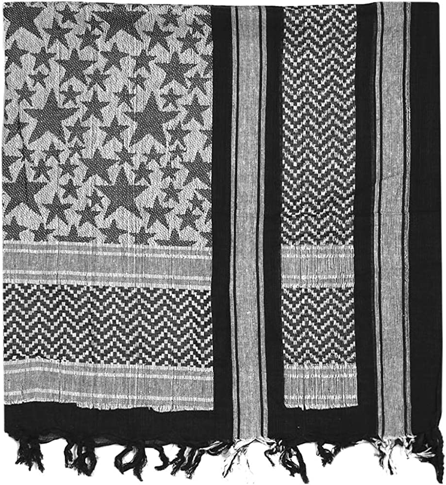 Mil-Tec PLO Cuello Pañuelo Shemagh (110x110 cm/Stars Negro/Blanco ...