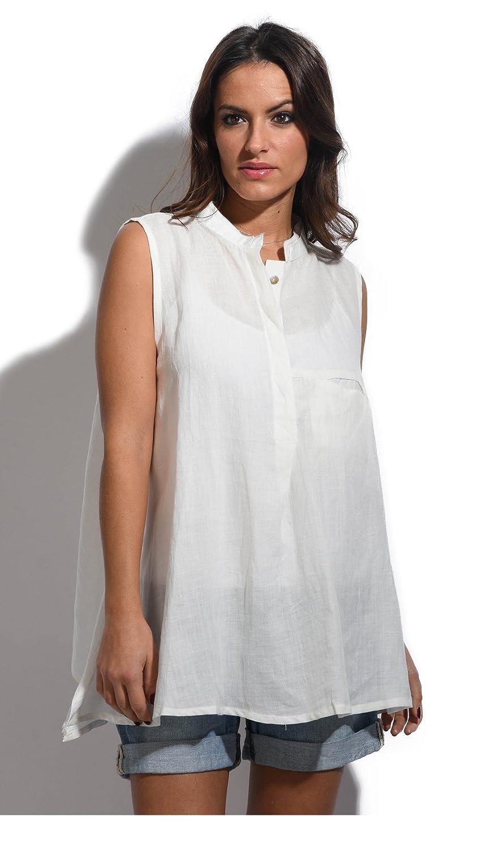 cb09566009 Bella Blue - Linen Tunic EROS - Woman - 18 20 - White  Amazon.co.uk   Clothing