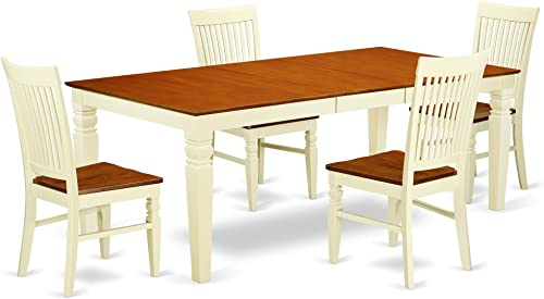 LGWE5-BMK-W 5 Pc Dinette set with a Dining Table and 4 Microfiber Kitchen Chairs in Buttermilk and Cherry