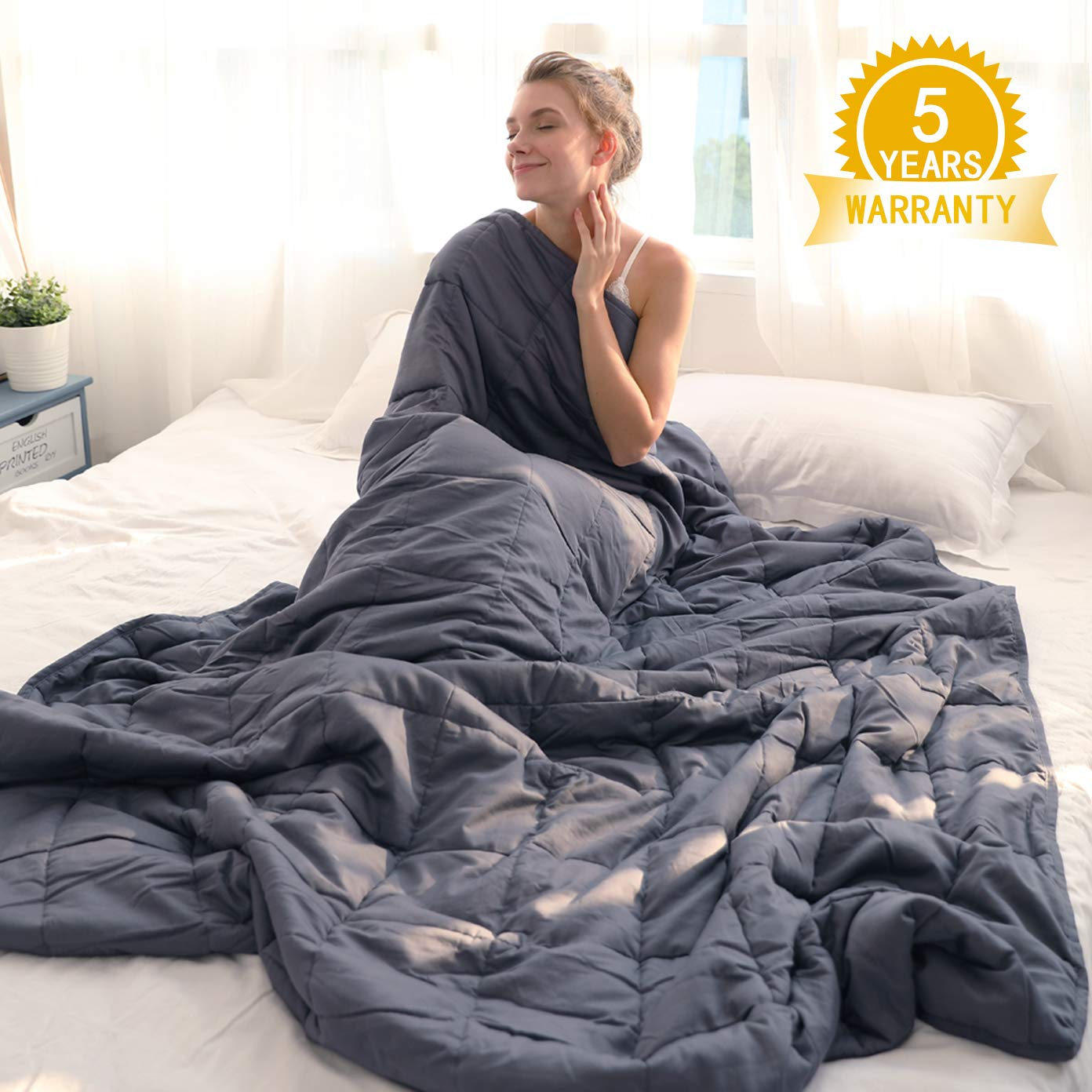 Isilila Glass Weighted Blanket 60'' x 80'' 15 lbs/ 20 lbs - Queen Size Cotton Provide Comfortable Sleep Quality for Kids & Adults (Gray, 60''x80'', 20 lbs) by Isilila