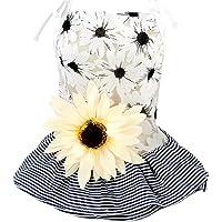 Mumoo Bear Summer Stripe Pet Dress for Dog Cat Floral Decor Dog Tutu Dress Skirt Pet Costumes Apparel