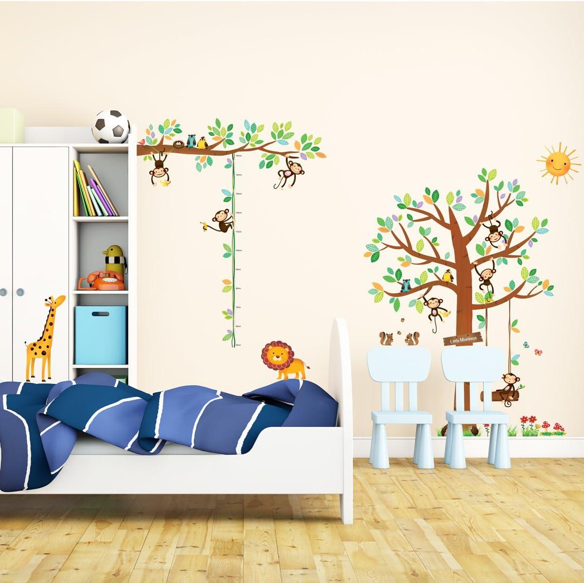 DECOWALL DA-1401P1402 8 Petits Singes Arboricoles et Ruban Mesureur Autocollants Muraux Mural Stickers Chambre Enfants B/éb/é Garderie Salon
