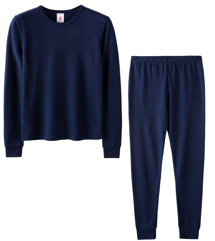 LAPASA Boys Thermal Underwear Long John Set Winter Base Layer Top and Bottom B03 (S(Height 115-125cm), Navy (Waffle Knit)) by LAPASA
