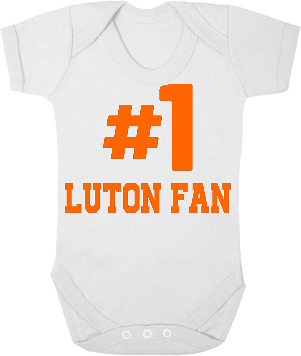 Luton Town Hashtag #1 Number One Football Fan Baby Grow Vest Boy Girl Gift Short Sleeve Baby Grow Romper