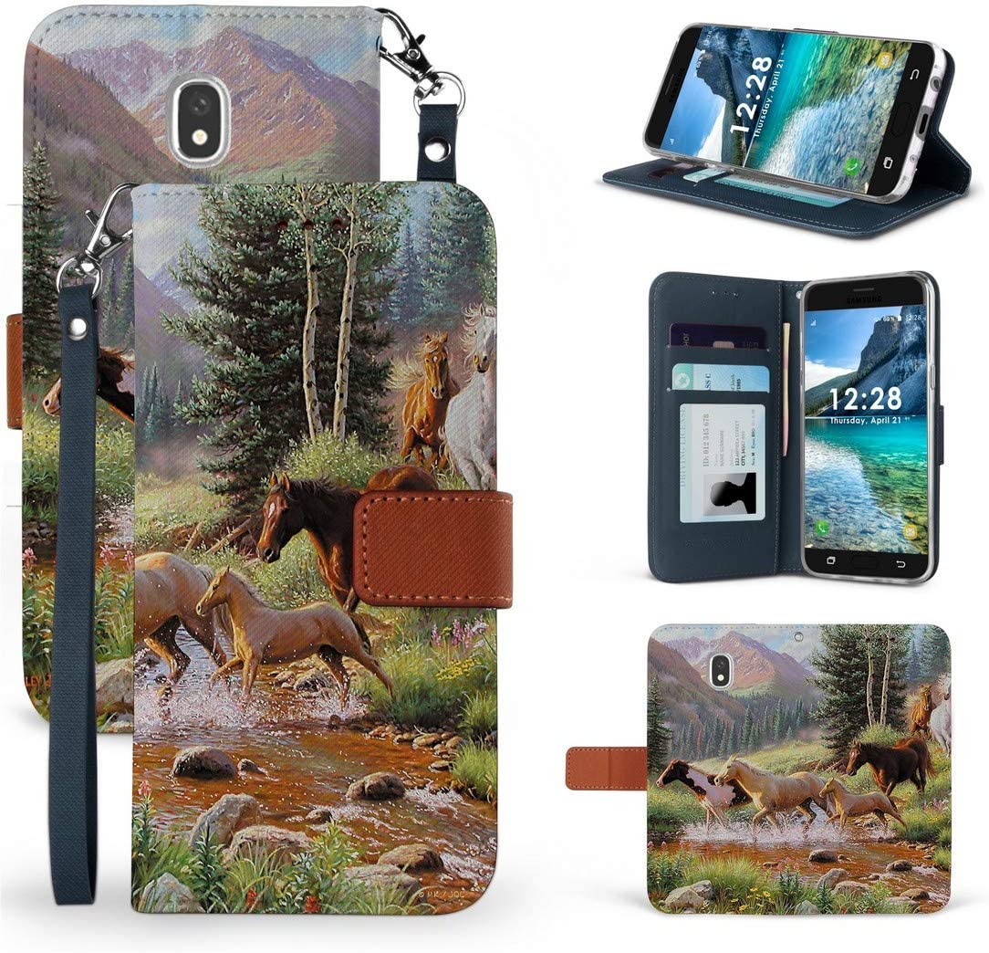 BC Infolio-D Wallet Case Compatible with Samsung Galaxy J3 (2018) J337 (J3V 3rd Gen, Star, Achieve, Express Prime 3) - Synthetic PU Leather Magnetic Flip Cover Case and Atom Cloth - Wild Horse Herd