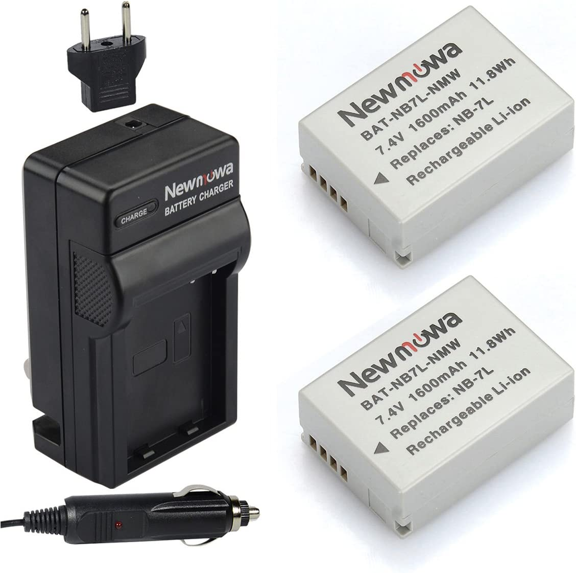 Charger Canon NB-7L Battery 1500mAh, 7.4V, Lithium-Ion 2X Pack Replacement for Canon NB-7L Digital Camera Battery and Charger