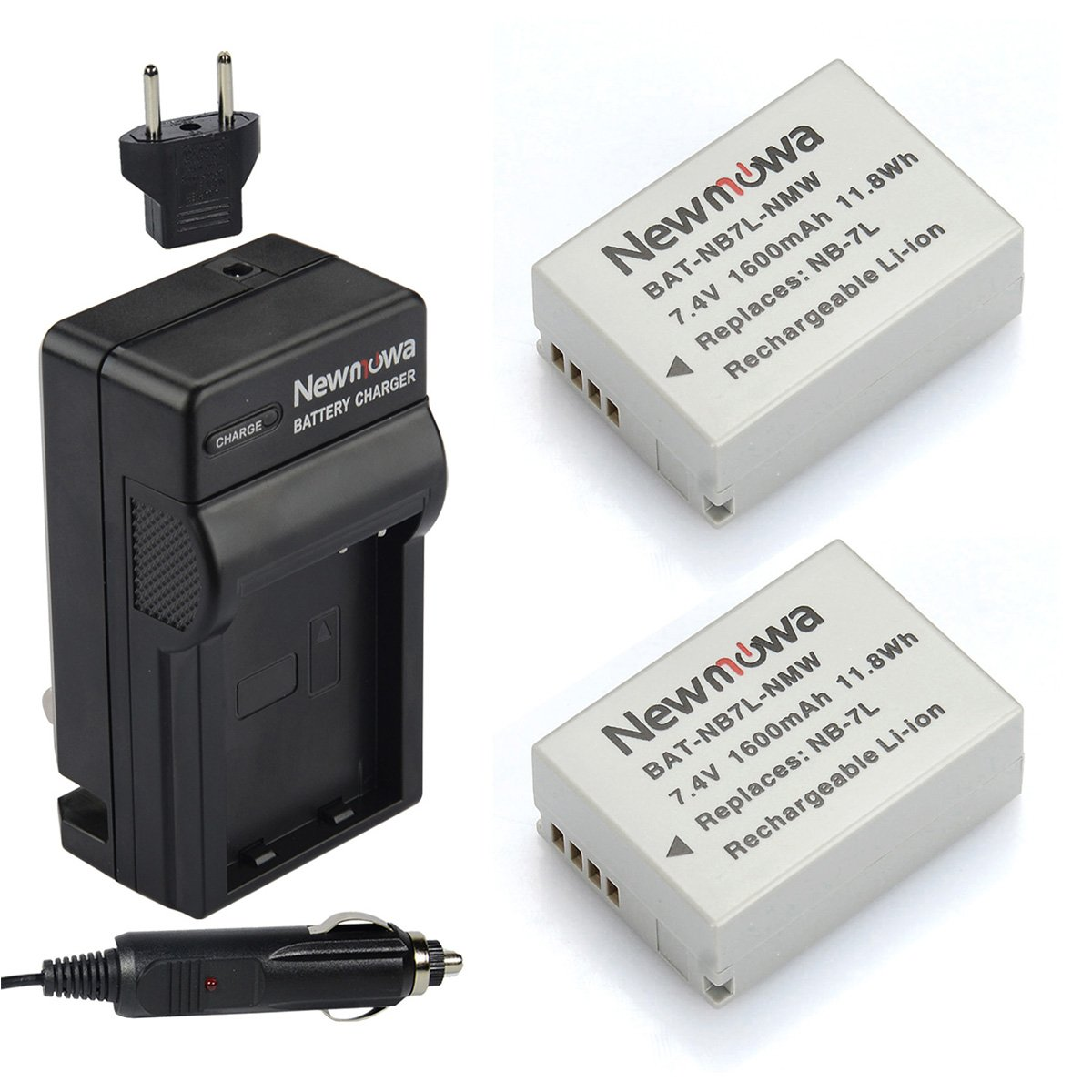 Newmowa NB-7L Battery (2-Pack) and Charger kit for Canon Powershot SX30 IS, G12, G11, G10,SX30IS,Cannon, CB-2LZ, NB7L