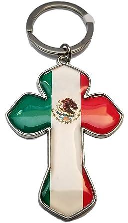 Amazon.com: Llavero de la bandera de México con cruz de ...