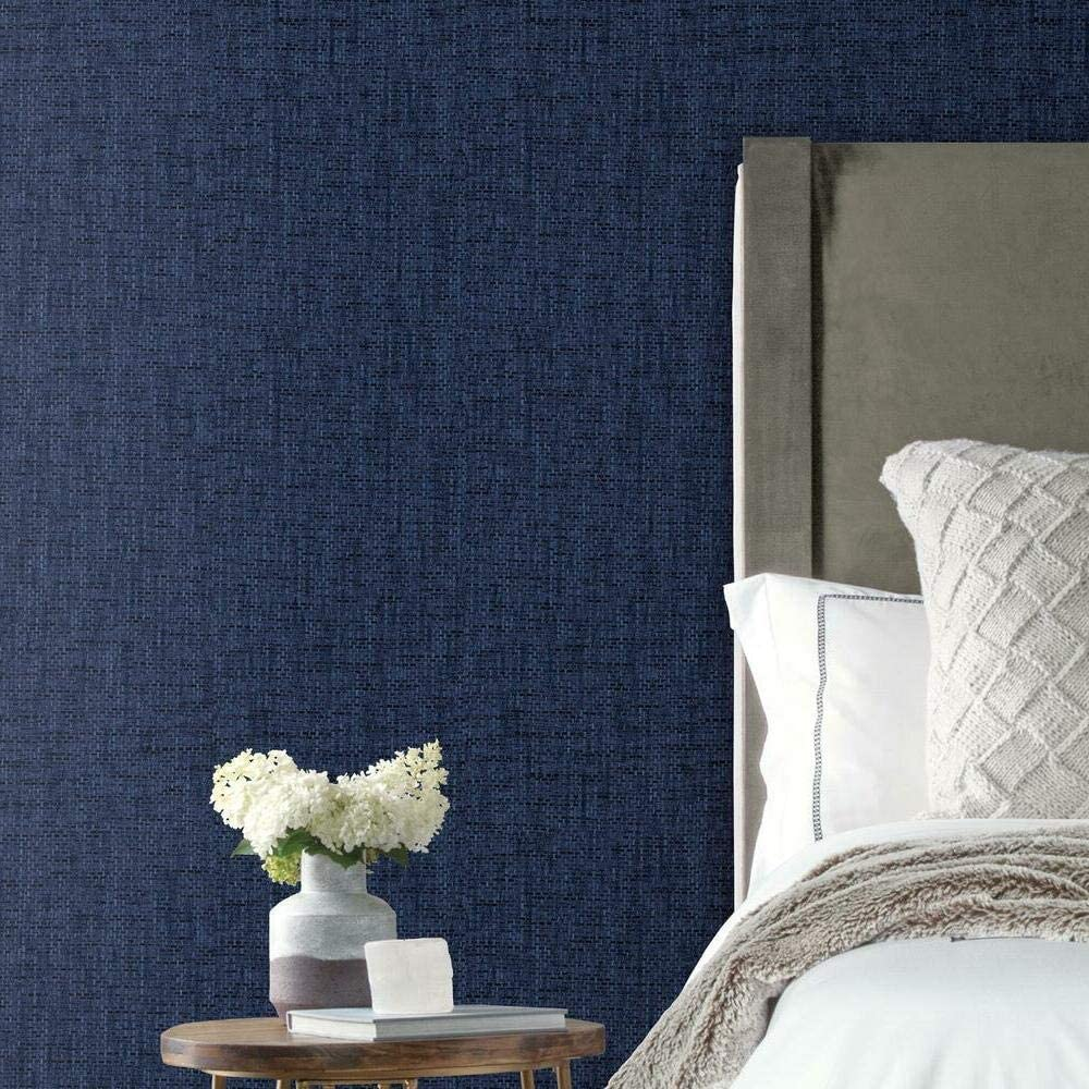 RoomMates Navy Faux Grasscloth Weave Peel and Stick Wallpaper
