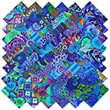Kaffe Fassett Collective PLUM BLUE BEAUTIES Precut 5-inch Charm Pack