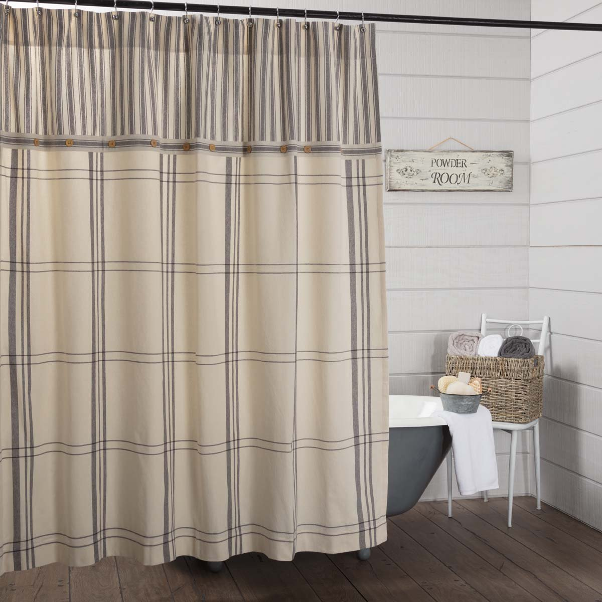 Piper Classics Market Place Shower Curtain, 72'' x 72'', Ticking Stripe w/Grey & Cream Plaid by Piper Classics (Image #1)