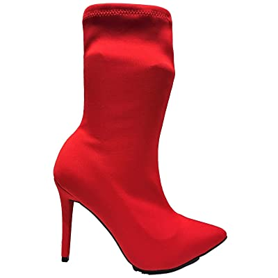 Bamboo Dedicate-48M Stretchy Elastic Ankle High Stiletto Heel Pull On Pointed Toe Lycra Boot Red