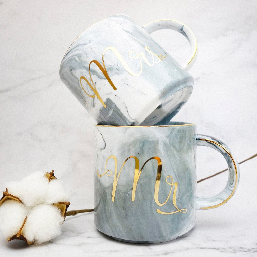 Vilight Mr Mrs Mugs Set - Bridal Shower Engagement and Wedding Gifts - Anniversary Coffee Cups for Engaged Married Couples - Ceramic Marble Tumbler 11.5 oz by VILIGHT (Image #4)