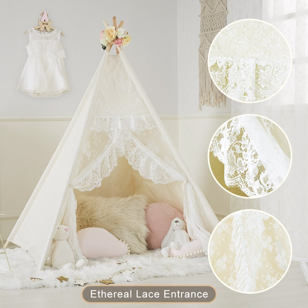 Little Dove Floral Classic Ivory Kids Teepee Kids Play Tent Childrens Play House Tipi Kids Room Decor by little dove (Image #2)
