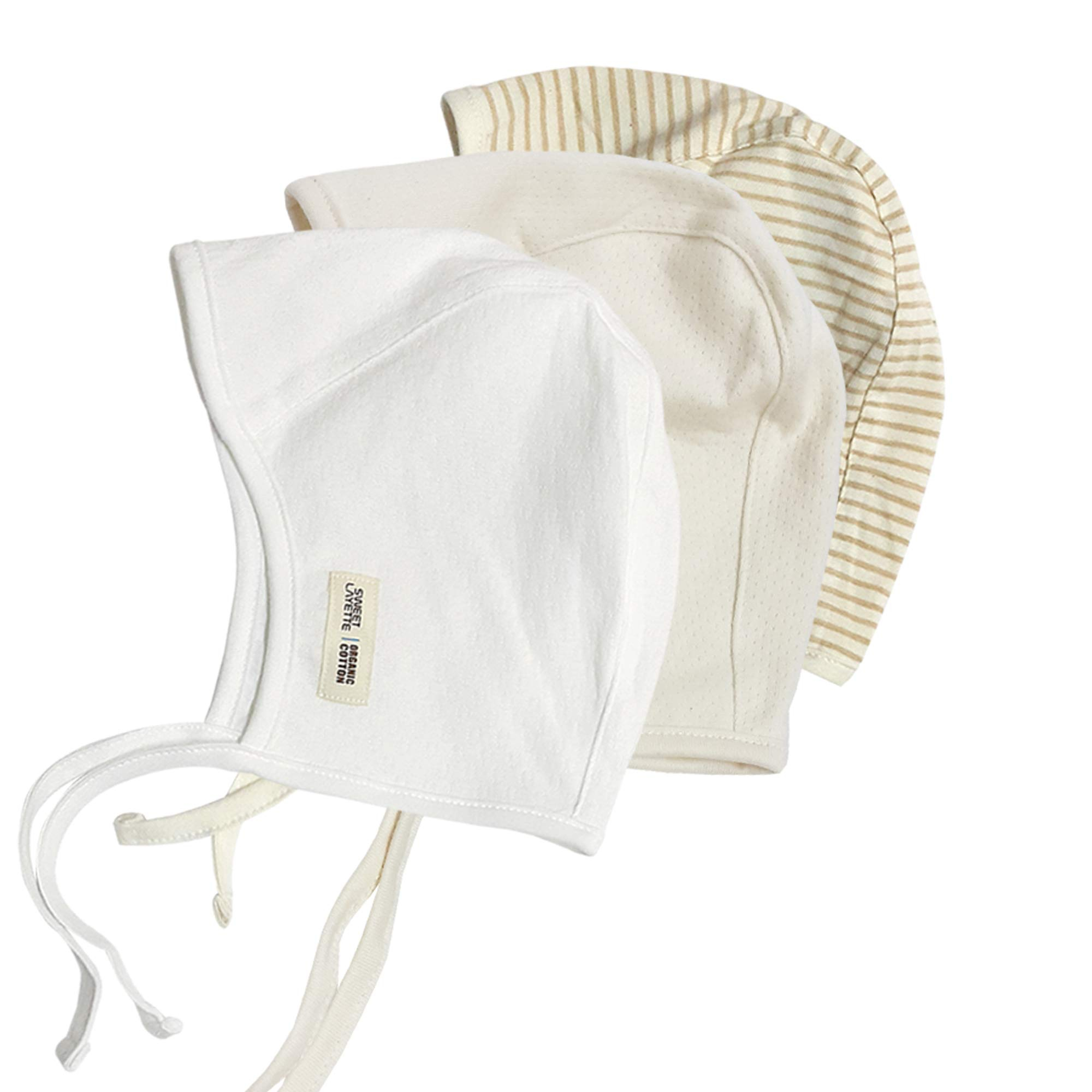 Sweet Layette Baby Bonnet Cap - Baby Pilot Hat - 100% Organic Cotton (3Set (Ivory,Beige,Stripe)) by Sweet Layette