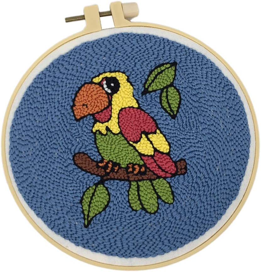 Rug Hooking Crafts Knitting Embroidery Kit Punch Needle Starter Kit with Punch Needle Colorful Yarn Prettyia DIY Animal Latch Hook Kits for Kids Beginner Owl