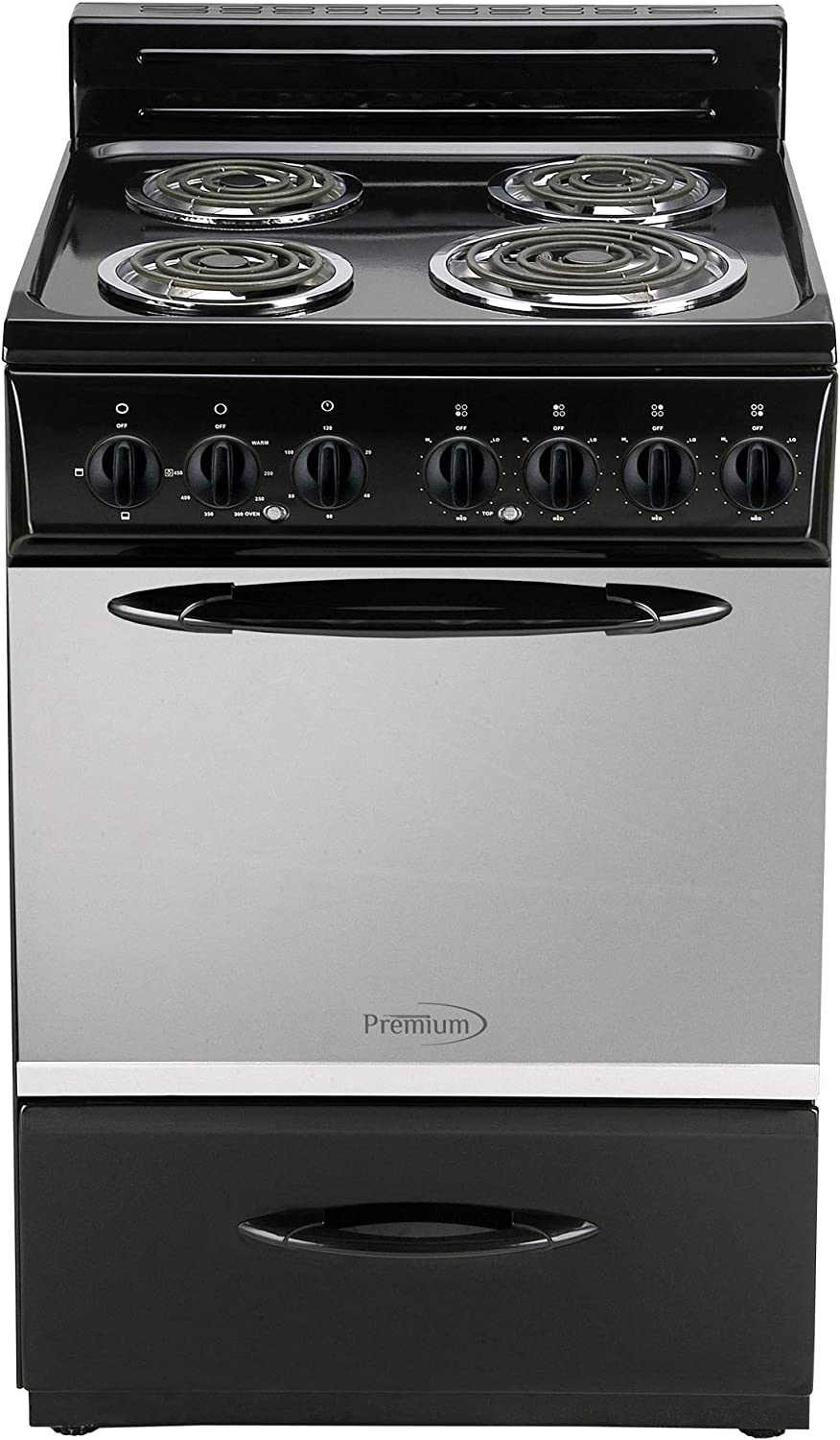 Premium 4 Elements Free Standing Electric Range 24'' 2.9 Cu Ft, Black