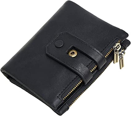 Black Woman/'s Genuine Leather Large coin purse with ID License holder New