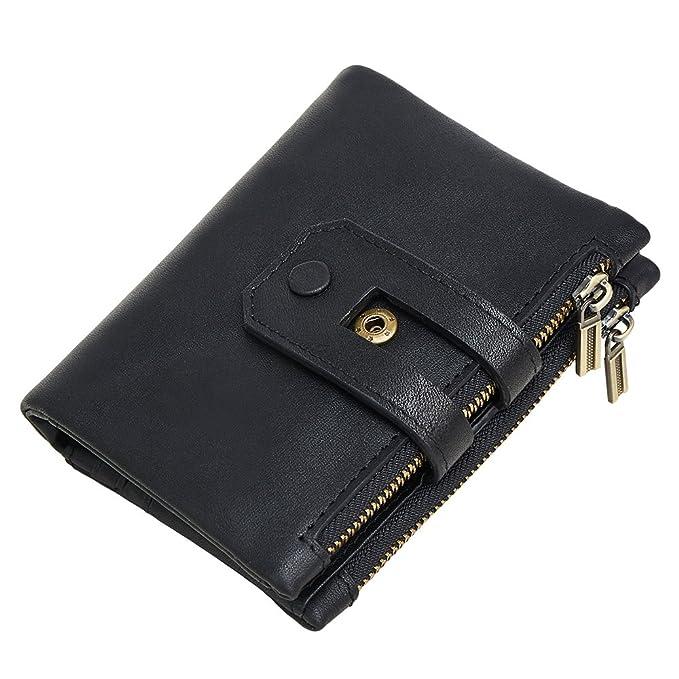 men rfid blocking wallet wraifa genuine leather short purse bifold card holder black men - Bifold Card Holder