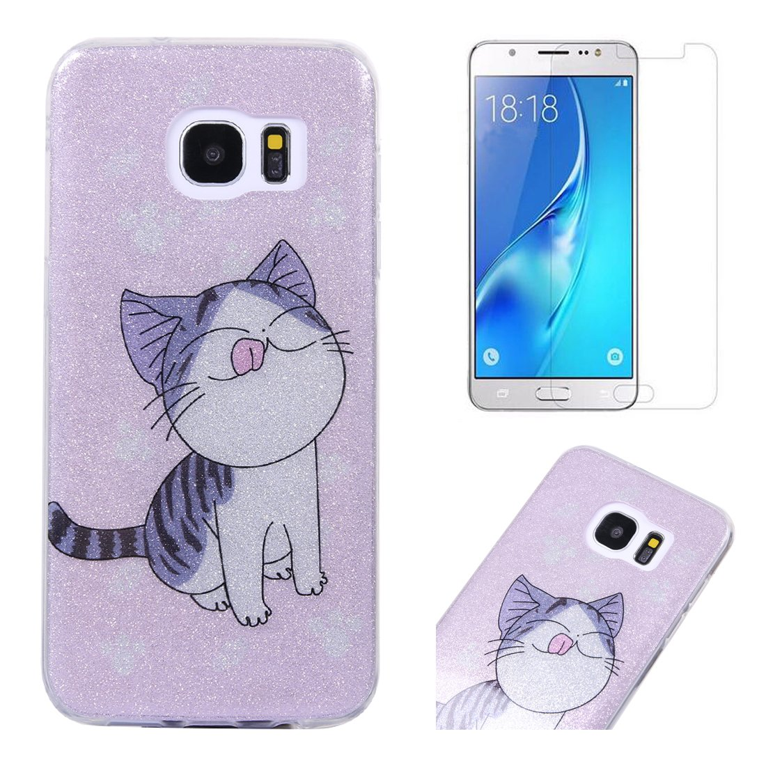 For Samsung Galaxy S7 Case with Screen Protector, OYIME Glitter Bling Design Ultra Thin Slim Fit Protective Back Cover Soft Silicone Rubber Shell Drop Protection Anti-Scratch Transparent Bumper and Screen Protector (Tiger)