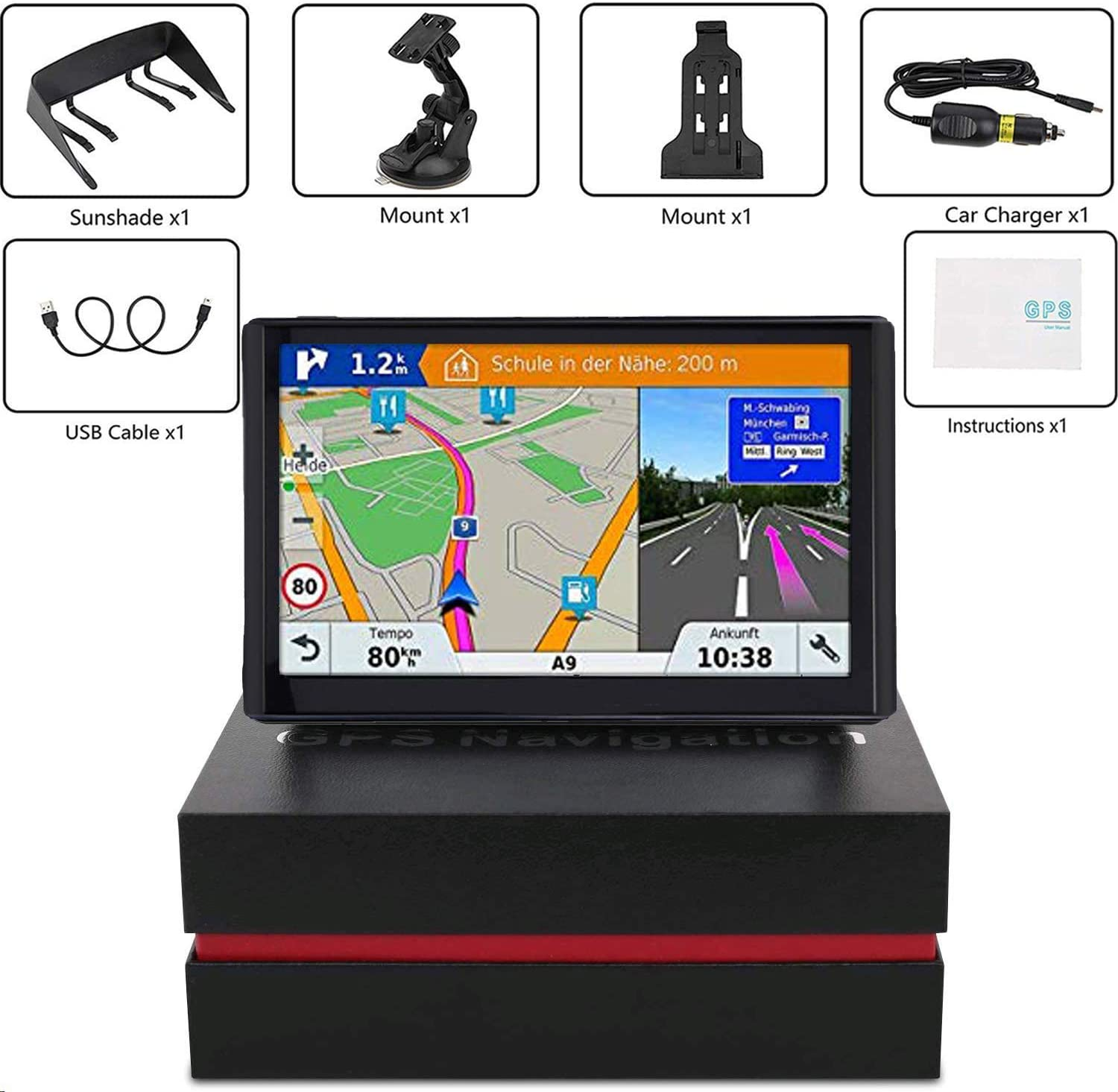 Voice Turn Direction Guidance Support Speed and Red Light Warning 2020 Map 7 inch Touch Screen Car GPS 256-8GB Pre-Installed North America Lifetime map Free Update GPS Navigation for Car