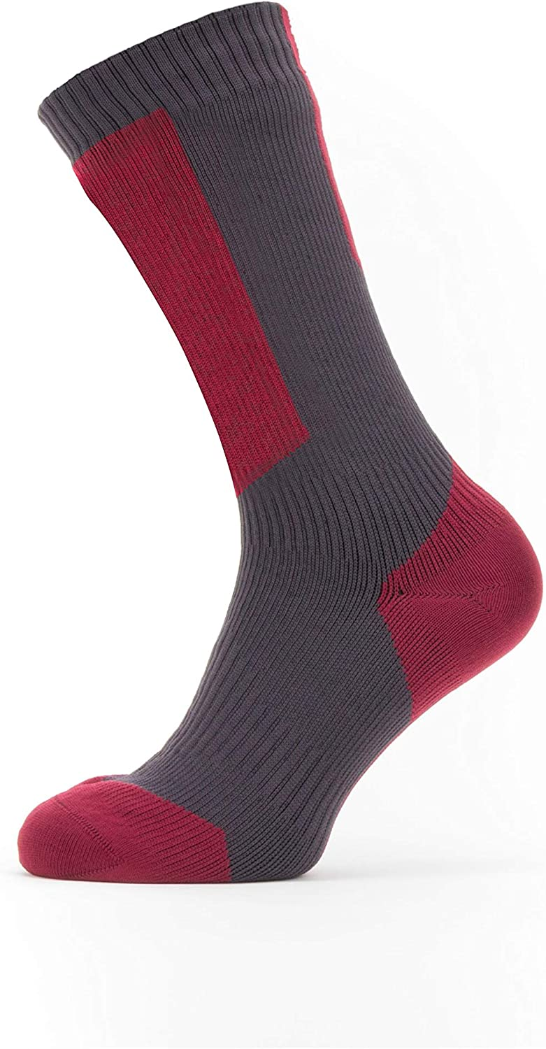 XLarge Mixte SEALSKINZ Waterproof Cold Weather Mid Length Sock with Hydrostop Chaussettes unisexes pour adultes Grey//Red//White