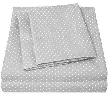 1500 Supreme Collection Bed Sheets - PREMIUM QUALITY BED SHEET SET, SINCE 2012 - Deep Pocket Wrinkle Free Hypoallergenic Bedding - 4 Piece Sheets - POLKA DOT PRINT- Queen, Gray