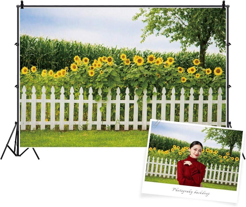 Baocicco 7x5ft Sunflower Garden Backdrop Green Spring Backdrop Green Grassland Backdrop White Fence Backdrop Wedding Backdrop Summer Holiday Backdrop Children Adults Photo Shooting Props Photo Booth