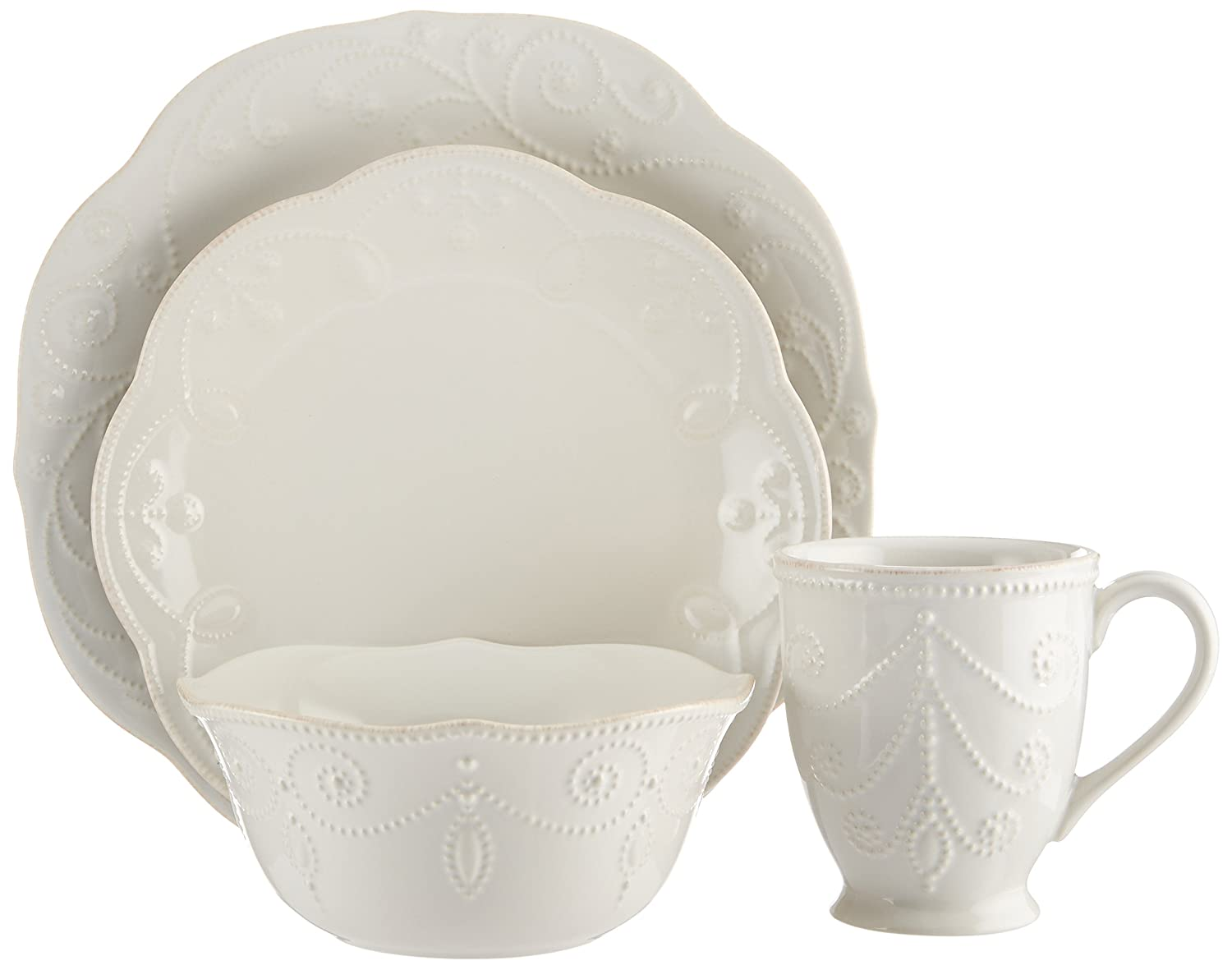 Amazon.com Lenox French Perle 4-Piece Place Setting White Dinner Set White Round Beaded Kitchen u0026 Dining  sc 1 st  Amazon.com & Amazon.com: Lenox French Perle 4-Piece Place Setting White: Dinner ...
