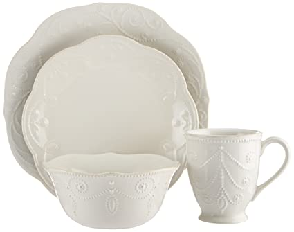 Lenox French Perle 4-Piece Place Setting White  sc 1 st  Amazon.com & Amazon.com: Lenox French Perle 4-Piece Place Setting White: Dinner ...
